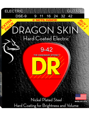 DR Cuerdas Guitarra Eléctrica 6 Cuerdas DRAGON SKIN™ 9-42 Nickel Plated Steel Pack 2