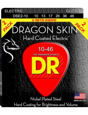 DR Cuerdas Guitarra Eléctrica 6 Cuerdas DRAGON SKIN™ 10-46 Nickel Plated Steel Pack 2