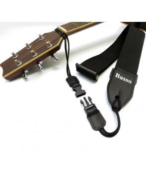Basso® Correa Guitarra Acústica QV-R-04 con Adaptador Negro 5 cm