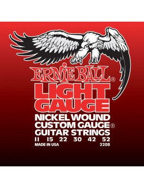 Ernie Ball® Cuerdas Guitarra Eléctrica 6 Cuerdas  2208 Nickel Custom Gauge® Light 11-52