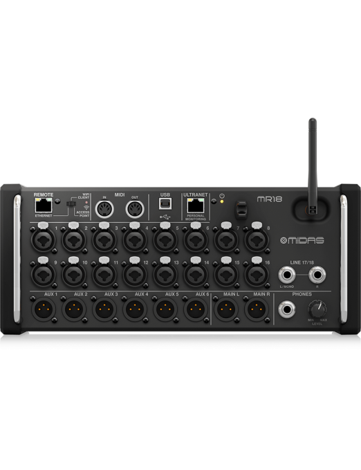 Midas® Consola Mezcladoras Digital MR18 18 Canales Controlado Digitalmente Tablets