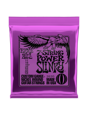 Ernie Ball® Cuerdas Guitarra Eléctrica 7 Cuerdas 2620 POWER SLINKY® NICKEL11-58