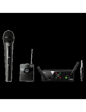 AKG® Sistema Micrófono Inalámbrico Doble WSM40 PRO MINI2 Set: Micrófono Vocal Mano, Bodypack, Instrumentos