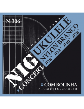 NIG® Cuerdas Ukelele Concierto N306 28-28 Nylon White Ball End