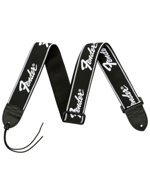 """Fender® Correa Guitarra 2"""" Negra Logo Bordado Blanco Puntas Cuero"""