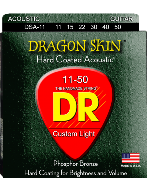 DR Cuerdas Guitarra Acústica 6 Cuerdas DRAGON SKIN™ DAS-11 Custom Light 11-50