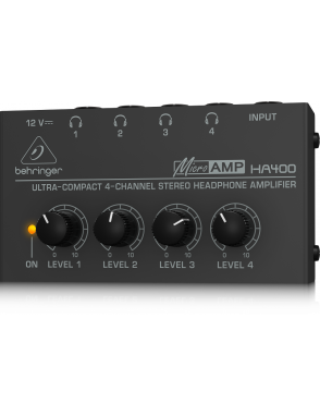 Behringer® Amplificador Audífonos HA400 Stereo 4 Canales Ultracompacto