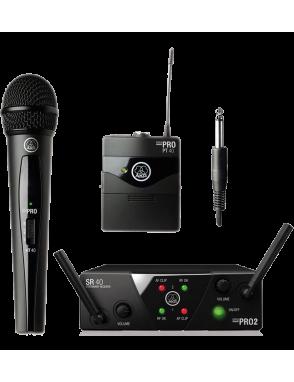 AKG® Sistema Micrófono Inalámbrico WSM40 Mini2 Dual Set: Microfono Vocal, Bodypack, Receptor Dual