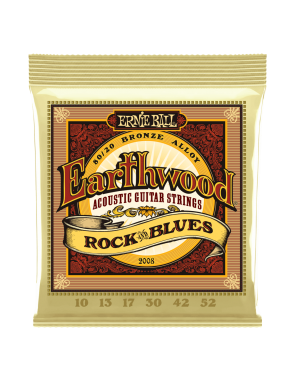 Ernie Ball® Cuerdas Guitarra Acústica 6 Cuerdas 2008 Earthwood Bronze 80/20 Rock and Blues 10-52