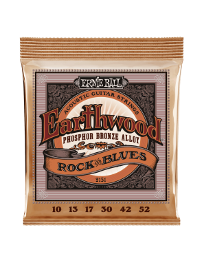 Ernie Ball® Cuerdas Guitarra Acústica 6 Cuerdas 2151 EARTHWOOD PHOSPHOR BRONZE Rock and Blues 10-52