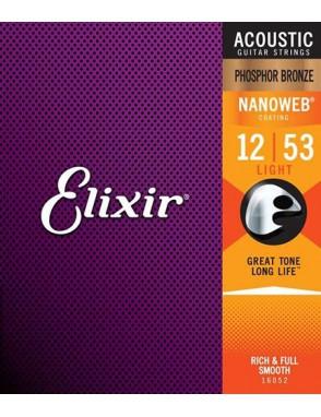 Elixir® Cuerdas Guitarra Acústica 6 Cuerdas 11052 NANOWEB®  Light 12-53
