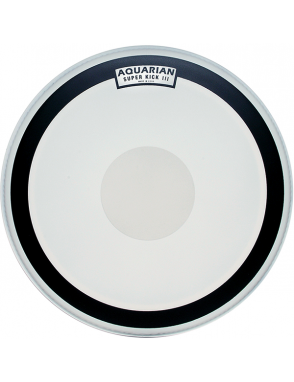 "Aquarian Drumheads® Parche Bombo 18"" SKIII-18 SUPER KICK III™ Texture Coated™ Power Dot™ Blanco"