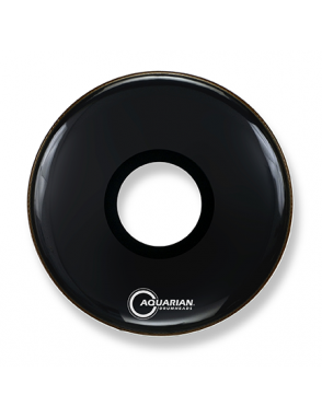 "Aquarian Drumheads® Parche Bombo Frontal 22"" PTCC-22BK PORTED BASS™ Negro Resonante Center Hole"