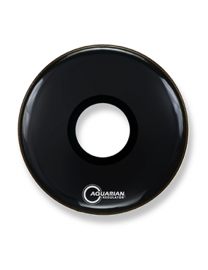 "Aquarian Drumheads® Parche Bombo Frontal 22"" RPT-22BK REGULATOR™ Negro Resonante Port Hole Central"