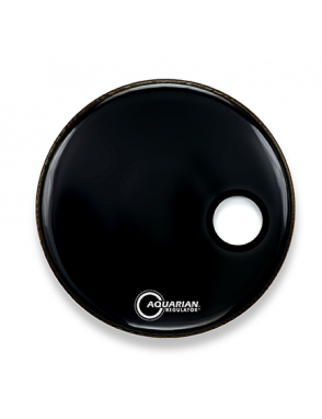 "Aquarian Drumheads® Parche Bombo Frontal 22"" RSM-22BK REGULATOR™ Negro Resonante Small Hole"