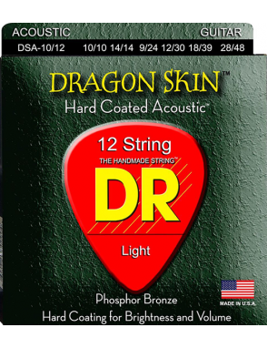 DR Cuerdas Guitarra Acústica 12 Cuerdas DRAGON SKIN™ DSA-10/12 Light 10-48