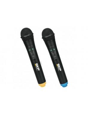 SKP® Pro Audio Micrófono Inalámbrico UHF261 Doble Mano con Case