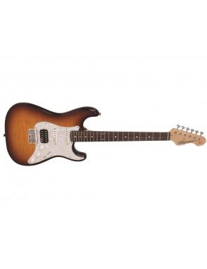 VINTAGE® Guitarras Eléctricas mango Atornillado MapleFLAME 1xHumb 2xSingle V6 HSS deluxe hardtail
