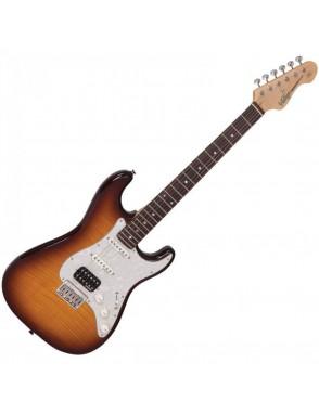VINTAGE® Guitarra electrica serie V6 HSS deluxe w/vibrola flame tobacco burst