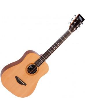 Vintage® Guitarra Acustica cuerdas de acero zurdos LHVTG100 left hand travel guitar- bag natural