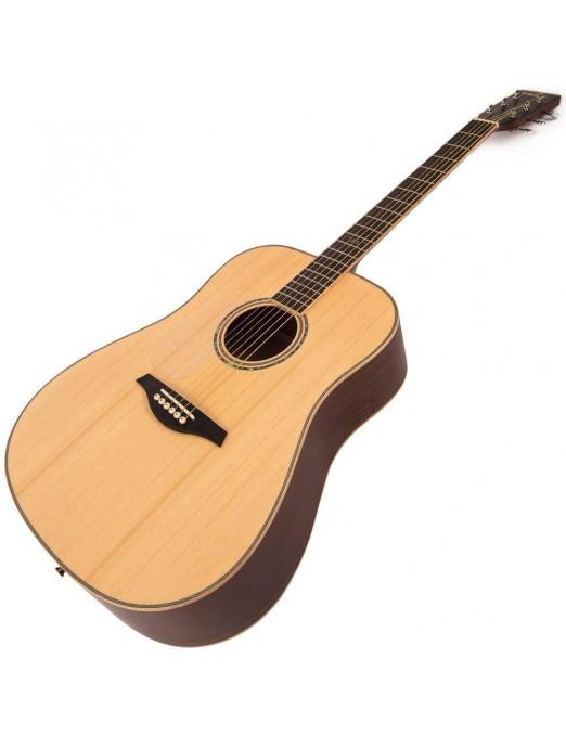 Vintage® Guitarra Acustica cuerdas de acero zurdos Vintage® Guitarra Acústica Dreadnought LV50 Zurdo Satin Natural