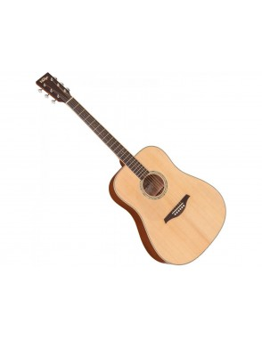 Vintage® Guitarra Acustica cuerdas de acero zurdos LHVTG100 left hand travel guitar- bag natural