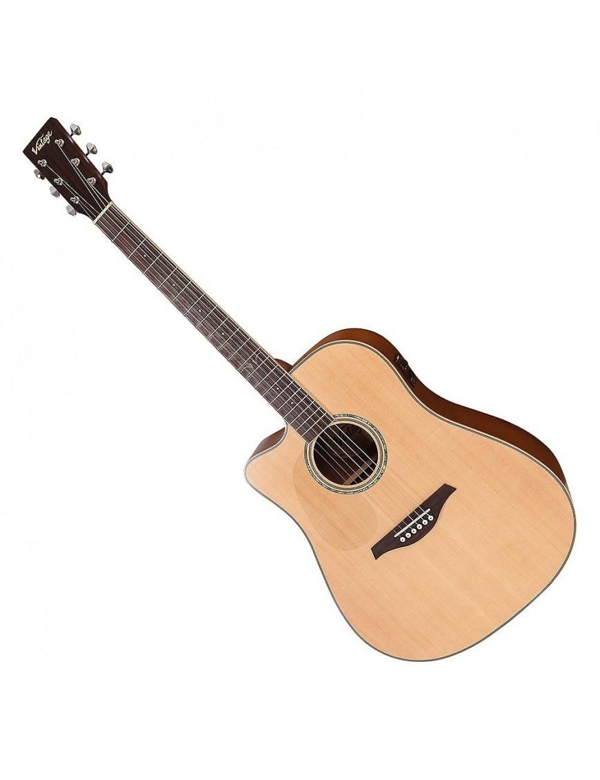 Vintage® Guitarra Electroacústica Dreadnought LVEC50 Zurdo Fishman USB Satin Natural